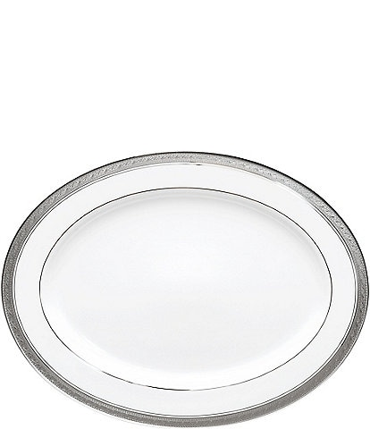 Noritake Crestwood Etched Platinum Porcelain Oval Platter