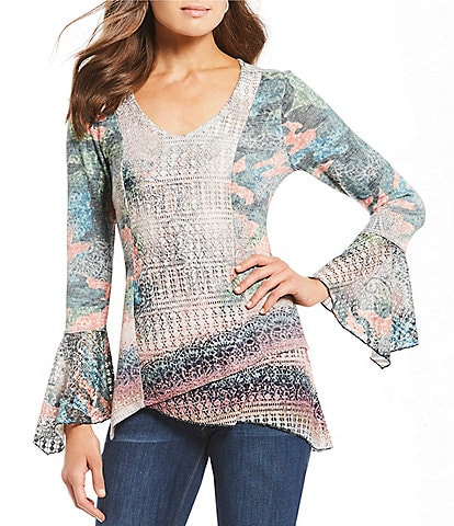 One World Apparel Printed V-Neck Bell Sleeve Asymmetrical Tulip Hem Tunic