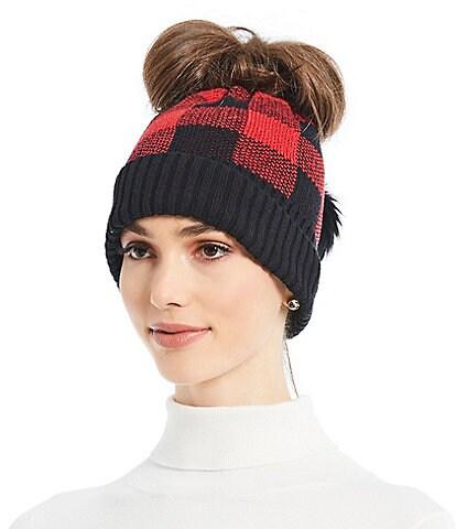 Parkhurst Ladies' Check Messy-Bun Pom Hat