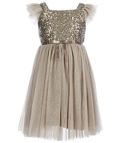 Popatu Little Girls 2-6 Glitter Flutter-Sleeve Tulle Dress