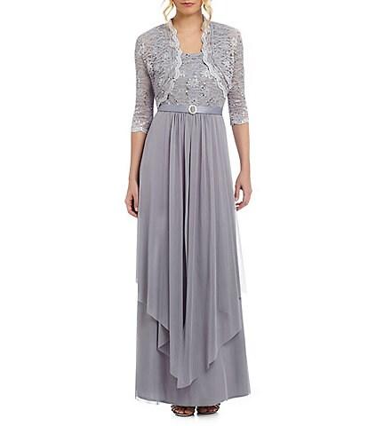 R & M Richards Sequined Lace & Chiffon Jacket Dress