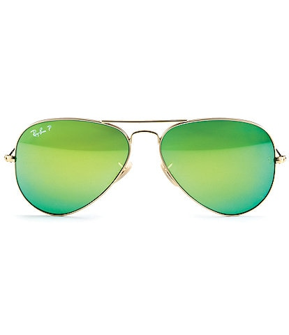 Ray-Ban Polarized Mirror Double Bridge UVA/UVB Protection Metal Mirror Aviator Sunglasses
