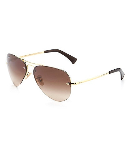 Ray-Ban Rimless Double Bridge Metal Aviator Sunglasses