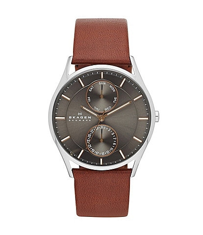 Skagen Men's 3-Hand Multifunction Leather Watch