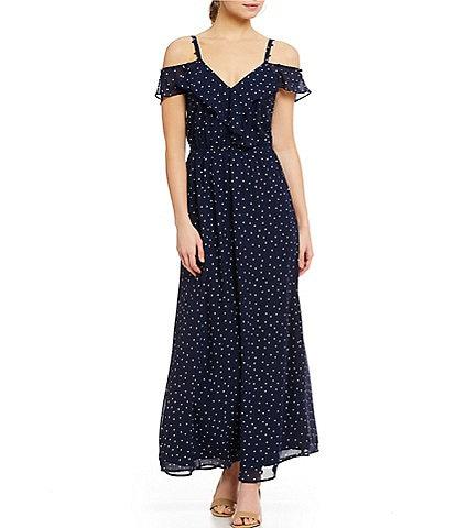 Skies Are Blue Cold Shoulder Ruffle Dot Print Fit and Flare Dress