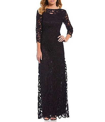 Soulmates Soutache Embroidered Beaded Bateau Neck Sheath Gown