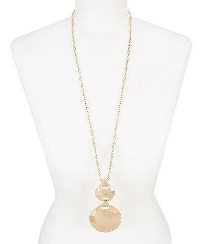 Southern Living Hammered Geometric Pendant Necklace