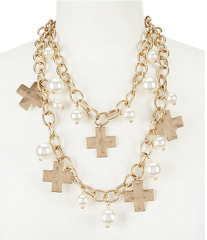Southern Living Karen Cross Charm Multi-Strand Pearl Statement Necklace