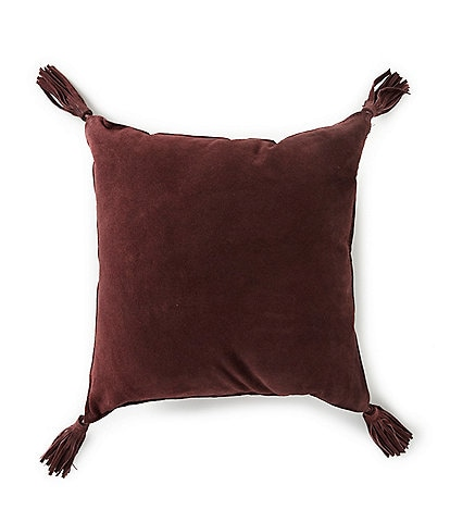 Southern Living Suede Fringe Tassel Square Pillow