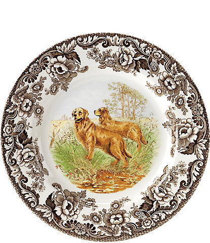 Spode Festive Fall Colletion Woodland Hunting Dogs Golden Retriever Dinner Plate