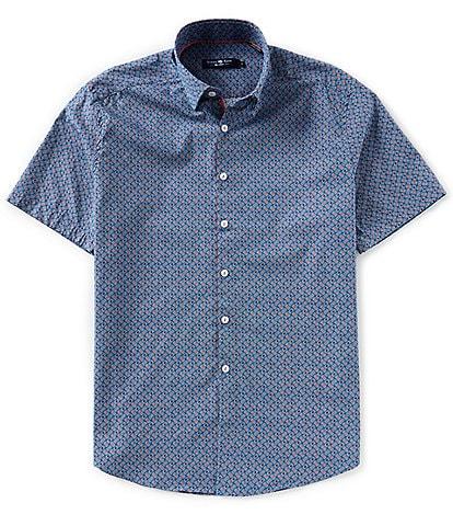Stone Rose Circle Geo Print Short-Sleeve Woven Shirt