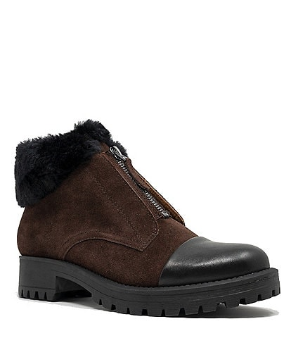 Sudini Yesenia Leather and Faux Fur Collar Booties