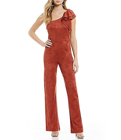 Sugarlips Faux Suede Ruffle One Shoulder Jumpsuit