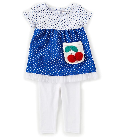 Sweet Heart Rose Baby Girls 12-24 Months Color Block/Dotted Fit-And-Flare Dress & Solid Leggings Set