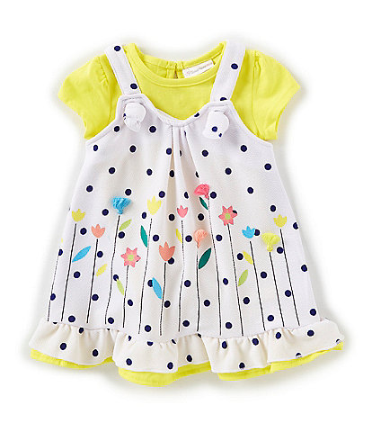 Sweet Heart Rose Baby Girls 12-24 Months Dotted/Floral Jumper Dress & Solid Bodysuit Set