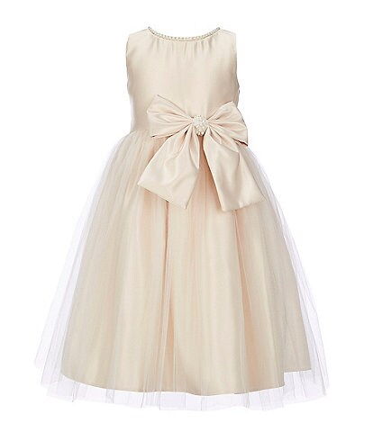 Sweet Kids Little Girls 4-6 Pearl-Trim Satin/Tulle A-Line Dress