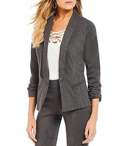 Takara Ruched-Sleeve Coordinating Suiting Jacket