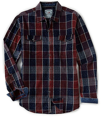Thread & Cloth Long-Sleeve Plaid Dobby Acid Washed Shirt