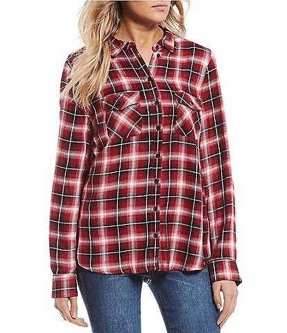 Timing Long Sleeve Plaid Double Pocket Button Front Top