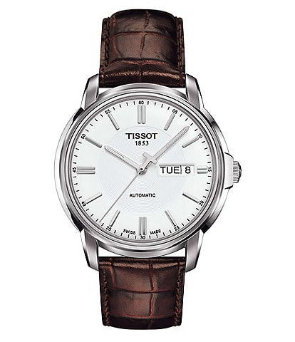 Tissot T-Classic Automatic III Day & Date Leather-Strap Watch