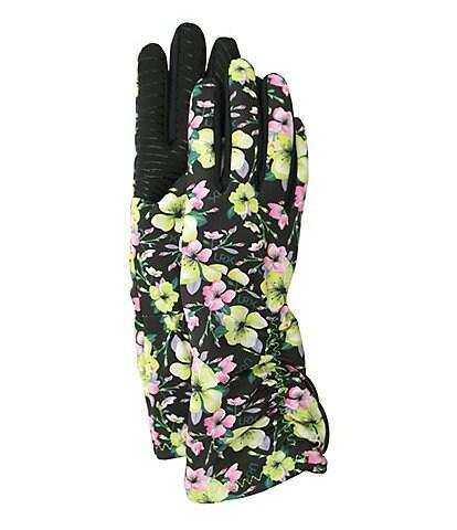 UR Ladies' Floral Side-Ruched Stretch Gloves