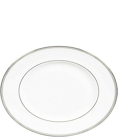 Vera Wang by Wedgwood Grosgrain Striped & Dotted Platinum Bone China Oval Platter
