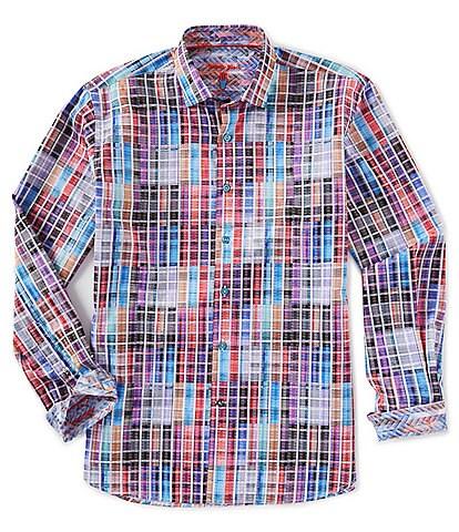 Visconti Multi-Color Check Long-Sleeve Woven Shirt
