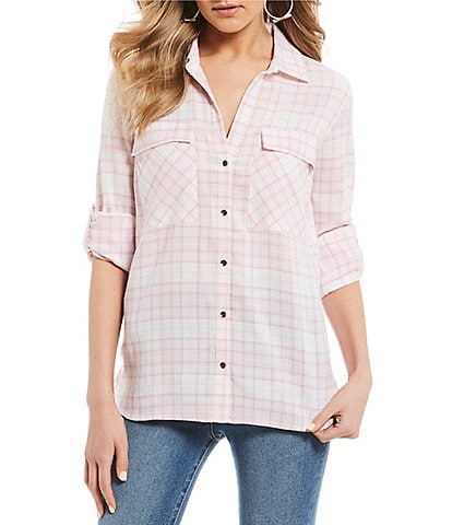 William Rast Dalila Plaid Button Front Top