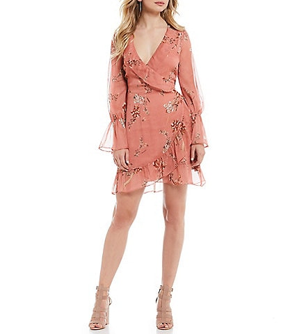 Willow & Clay Floral Print Ruffle Trim Poet Sleeve Mini Wrap Dress