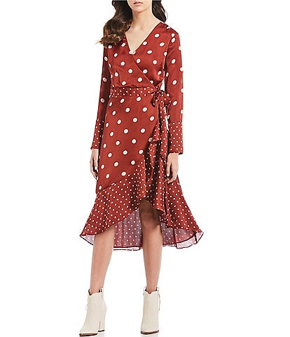 Willow & Clay Mixed Dot Tie Front Wrap Dress