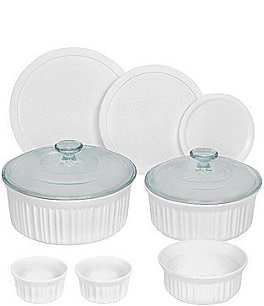 Image of CorningWare French White 10-Piece Round Fluted Oven-to-Table Bakeware Set