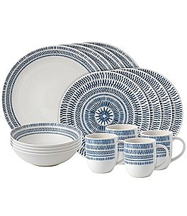 Image of ED Ellen DeGeneres Crafted by Royal Doulton Blue Chevron Collection 16-Piece Dinnerware Set