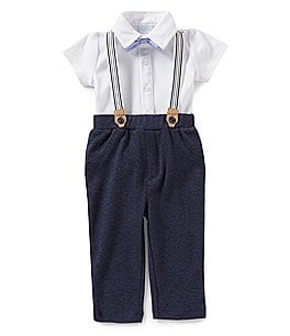 Image of Edgehill Collection Baby Boys Newborn-6 Months 3-Piece Suspender, Short Sleeve Shirt, & Pants Set