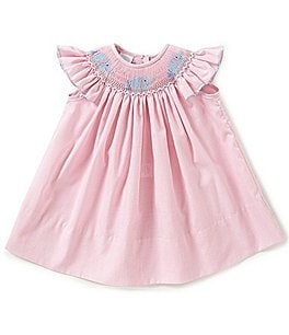 Image of Edgehill Collection Baby Girls 3-9 Months Elephant Checked Smocked Bishop Dress