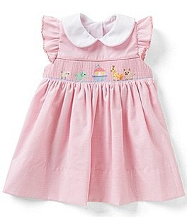 Image of Edgehill Collection Baby Girls 3-9 Months Noah's Ark Ruffle-Sleeve Smocked Float Dress