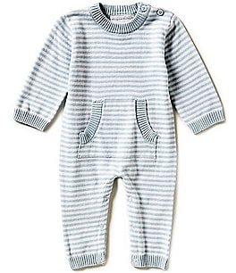Image of Elegant Baby Baby Boys Newborn-3 Months Long-Sleeve Striped Coverall