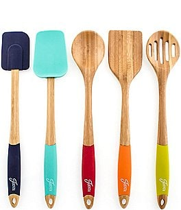 Image of Fiesta 5-Piece Bamboo & Silicone Utensil Set