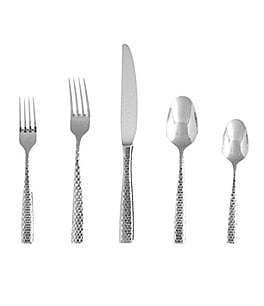 Image of Fortessa Lucca Honeycomb-Faceted Stainless Steel 5-Piece Place Setting