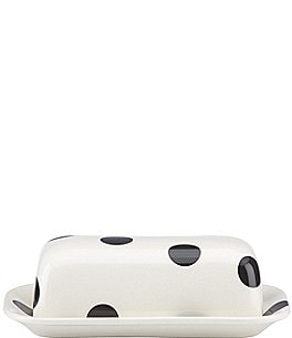 Image of kate spade new york All in Good Taste Deco Dot Stoneware Covered Butter Dish