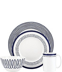 Image of kate spade new york Charlotte Street Blue Porcelain 4-Piece Place Setting