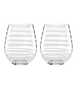 Image of kate spade new york Charlotte Street Spiral Stemless Wine Glass Pair