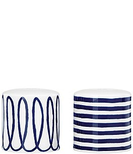 Image of kate spade new york Charlotte Street Swirled & Striped Porcelain Salt & Pepper Shaker Set
