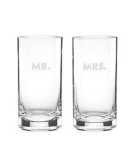 Image of kate spade new york Darling Point Mr. & Mrs. Crystal Highball Glass Pair