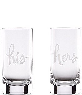 Image of kate spade new york Two Of A Kind His & Hers Wedding Highball Glass Pair