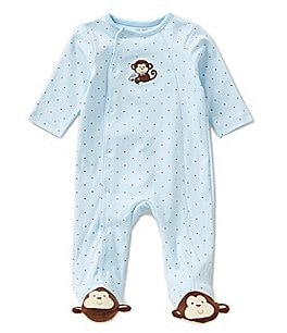 Image of Little Me Baby Boys Preemie-12 Months Monkey Star Footed Coverall