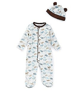Image of Little Me Baby Boys Preemie-9 Months Cute Puppy Footed Coverall & Hat Set