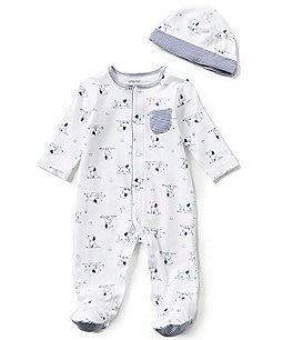 Image of Little Me Baby Boys Preemie-9 Months Puppy Toile Printed Footed Coverall & Hat Set