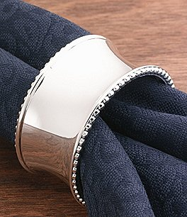 Image of Noble Excellence Beaded Elegance Concave Metal Napkin Ring