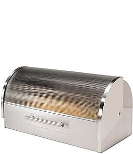 Image of Oggi Stainless Steel Roll Top Bread Box with Tempered Glass Lid
