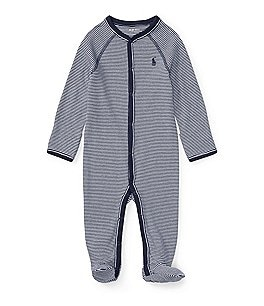 Image of Ralph Lauren Childrenswear Baby Boys Newborn-9 Months Solid-Trim Striped Coverall